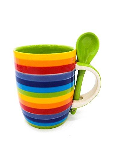 Windhorse Rainbow Keramik gestreift großer Kaffee/Tee Tasse mit Löffel–350ml–10½ cm hoch x 8½ cm Durchmesser–handbemalt