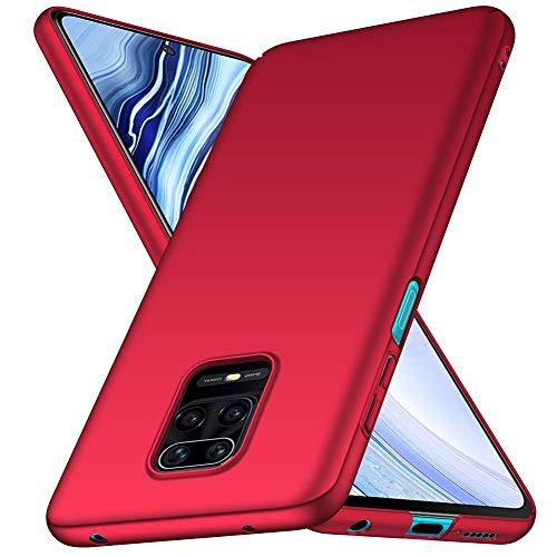 TOPOFU Funda para Xiaomi Redmi Note 9S, Ligera Carcasa PC Hard Caja Caso Skin Case Cover Carcasa Ultra Fina Anti-rasguños Choque Resistente Case para Xiaomi Redmi Note 9S (Rojo)