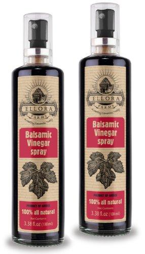 Ellora Farms, Balsamic Vinegar in glass spray bottle, Clog-free pump, barrel aged vinegar, Single origin Crete, Greece, all-natural, 3.38 oz, Pack of 2