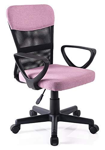 Exofcer Sedia Girevole per scrivania da Computer con Schienale Medio in Rete Regolabile per Bambini e Adolescenti Rosa