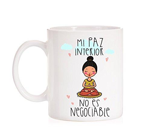 MardeTé Taza Mi Paz Interior no es negociable. Taza de Regalo Muy Original. Taza para Yoga, Reiki, meditación, relajación, centros Masaje.
