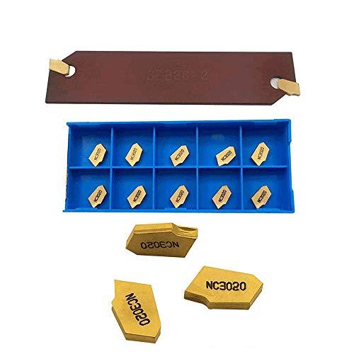 GBJ 10pcs SP200 / GTN-2 Gold with SPB26-2 Grooving Cut-Off Carbide Inserts SPB 26-2 / SPB226 Blade Grooving Slotting Tool Cut Off Plate Tool