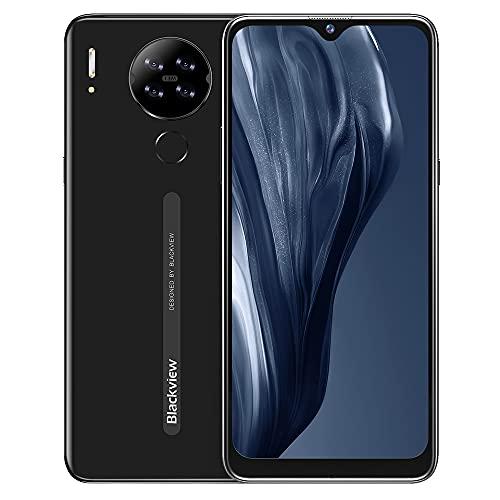Moviles Baratos y Buenos, Blackview A80s 6.21' HD+ Pantalla con Cámara Cuádruple 13MP, 4GB + 64GB, Batería 4200mAh, Android 10 Smartphone Libre 4G, Dual SIM,Huella Digital/Face ID/GPS/FM - Negro