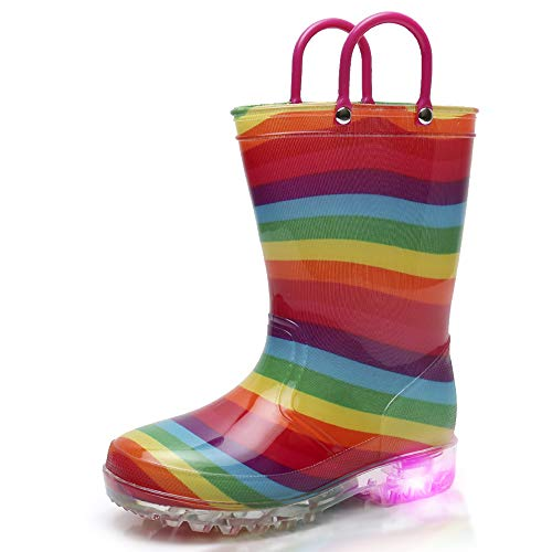 Light Up Rainbow Rain Boots with Lights for Girls(11 M US Little Kid)