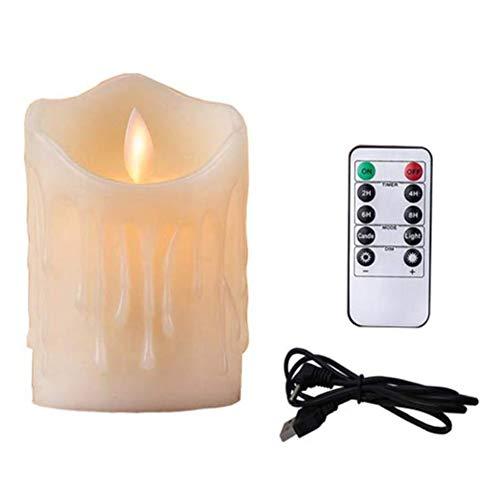JUNGEN LED Kerzen Lichter Elektrischer LED-Docht Flackernde 7.5 * 10cm mit USB-Aufladung und Fernbedienung (1 Stück)
