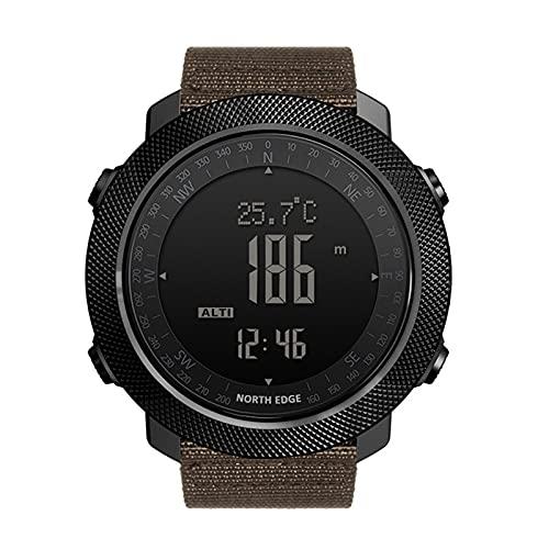 QZH Reloj Deportivo para Hombres, Niños Niñas Reloj Digital para Exteriores Reloj Estilo Táctico para Hombres 5ATM Natación Impermeable Fitness Luz Fondo Rastreador Relojes Deportivos Pulsera,Marrón