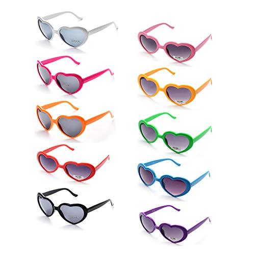 ONNEA 10 Piezas Gafas de Sol Fiesta Forma de Corazón para Mujer Hombre (10 Paquete Multicolor)