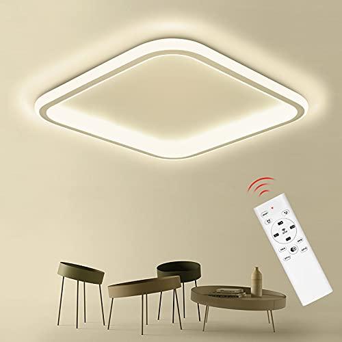 Anten Plafon Led Techo Regulable, 32W Lámpara de Techo Moderna con Mando a Distancia 3000-6500K 3200LM para Salón/ Dormitorio/ Cocina/ Comedor, Cuadrado Ultradelgado Plafón 41,5cm