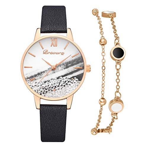 SHUANGA 2021 neu Valentinstag Damen Quarz Uhr mit Edelstahl, Lässige Mit Elegante Armbänder,Uhren Damenuhr Geschenk für Frauen Armbanduhr Minimalistisch Zifferblatt Klassische Roségold Uhr