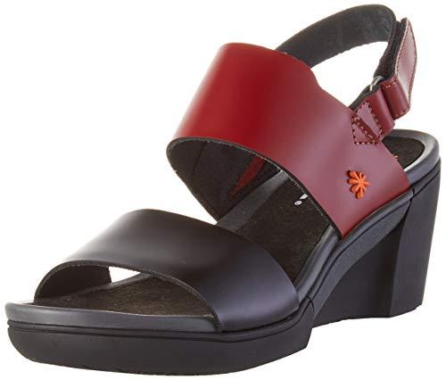 Art Rotterdam, Zapatos de tacón con Punta Abierta Mujer, Multicolor (Burdeos/Black Burdeos/Black), 40 EU