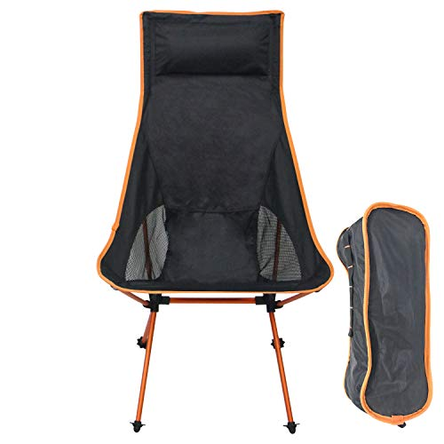 Sutekus Ultralight Backpacking Camping Chair High Back Portable Chair with Headrest & Carry Bag for Camping Hiking Brach Outdoor (Orange)