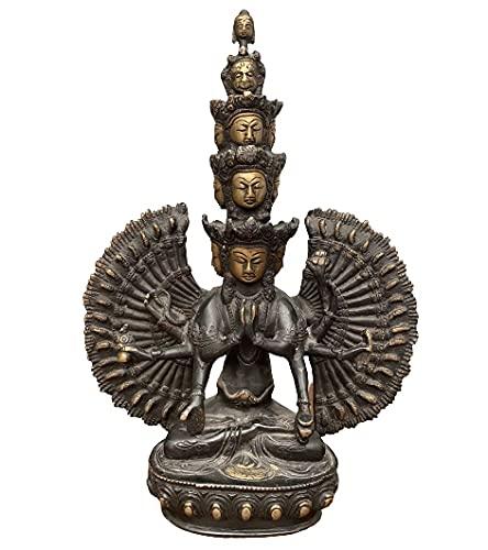 Chenrezig Buddha Figur (31cm) Avalokiteshvara Bronze Statue Nepal Tibet - Asien Lifestyle