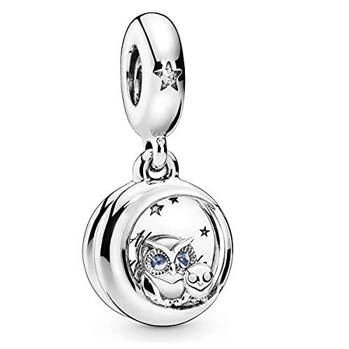Annmors Abalorios Charms Mom and Son Owl Colgante de Cuentas Plata de Ley 925 con Compatible con Europeo Pulsera Collar,Charms de Festival Cumpleaños Para Mujer Niña