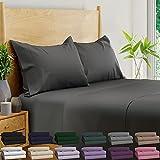 BAMPURE 100% Organic Bamboo Sheets - Bamboo Bed Sheets Organic Sheets Deep Pocket Sheets Bed Set Cooling Sheets King Size, Stone Gray