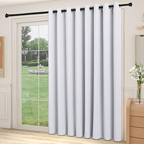 YIUMULA Patio Door Blinds Vertical, Room Darkening Blackout Sliding Glass Door Curtains, Window Treatment Light Reducing Grommet Curtains for Living Room, Bedroom (1 Panel, Greyish White, 100W x 96L)