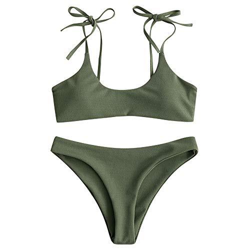 ZAFUL Damen Einfarbiger Gerippter Geknoteter Brazilian Bikini-Set Sexy Badeanzug Sommer Beachwear(Tarnung Grün S)