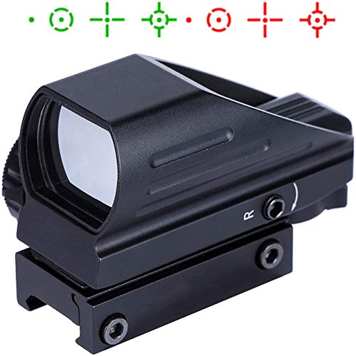 Tokenhigh Airsoft táctico Multi-óptico holográfico Recubierto Punto Rojo y Verde Vista Reflex 4 Diferentes retículas HD103