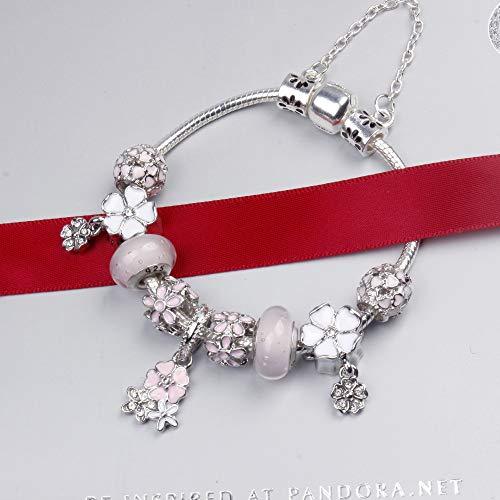 Zuiaidess Pulseras para Mujer,Pétalos De Rosa Colgante Cristal Rosado