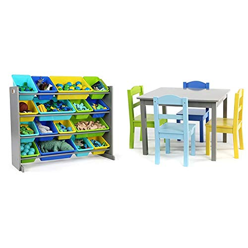 Humble Crew Extra-Large Toy Organizer, 16 Storage Bins, Grey/Blue/Green/Yellow & Grey/Blue/Green/Yellow Kids Wood Table and 4 Chairs Set