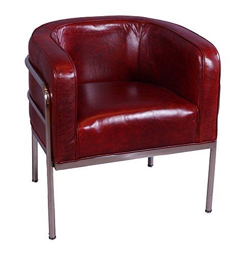 Vintage-Line Designsessel Chicago Leder Royal Rouge Chrom Echtleder Sessel