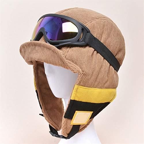 Sombreros, Gorras de esquí, Gafas de esquí gratuitas, Gorras de Vuelo, Sombreros a Prueba de Viento for Mujer en otoño e Invierno, Sombreros de Cuello Protector de Invierno, Gorras de Caza