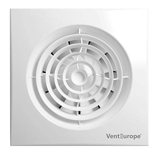 VENTEUROPE-Ventilador de baño silencioso de 100 mm con Temporizador 90 m3/h, motor 8 vatios con rodamiento de bolas y protección contra el sobrecalentamiento, Termoplástico ABS Garantía de 5 años