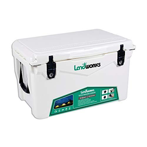Landworks Rotomolded ENHANCED Ice Cooler 45QT Up to 10 Day Ice Retention Commercial Grade Food Safe Dry Ice Compatible UV Protection 15mm Gasket Bottle Openers Vacuum Release Valve Lo Profile Latches
