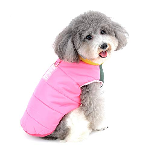 Zunea Impermeable Abrigo Chaqueta para Perros Pequeños Invierno Cachorro Arnés Chaleco Ropa Caliente Chaleco de algodón con Anilla en D para Mascota Gato Perros pequeños niño y niña Rosa L