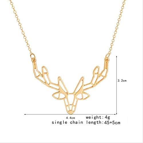 ZGYFJCH Co.,ltd Collar Mujer Collar Collar 1pc Lindo Animal Origami Elk Cuerno Colgante Collar Moda Grandes Colgantes Collares Mujeres Charm Adornos Regalo para Mujeres Hombres Regalos