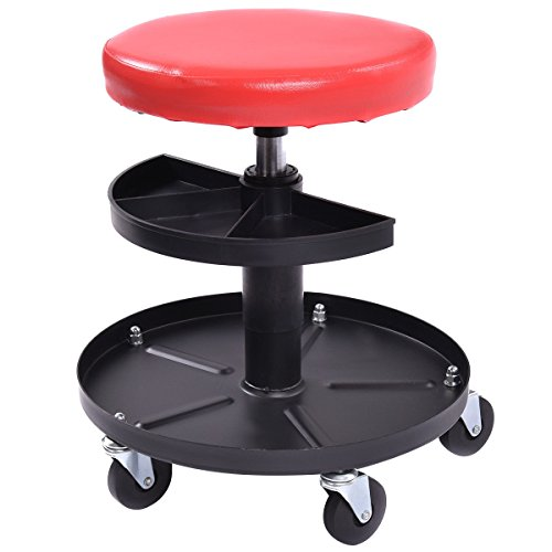 Goplus Adjustable Rolling Seat Creeper Pneumatic Padded Chair with Tray for Repair Shop Garage, 300-lb Capacity (Round Shape)