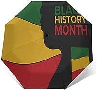 コンパクトスモールミニ傘自動アフリカ雨伞アメリカの歴史アフロセントリックトラベル折りたたみポータブル傘折りたたみ式自動開閉パラソル、紫外線保護付き日雨女性男性用-3Dアウタープリント1-折りたたみ後11.5インチ