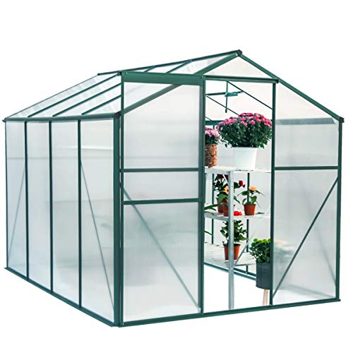 U-MAX Greenhouse Polycarbonate Outdoor Garden Greenhouse Walk-in Portable 8'(L) x6'(W) x6.6'(H) Adjustable Roof Hot House