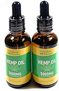 Pure Organic Hemp Oil 2 pack (5000mg, 100% Natural, 60ML Drops, Helps with loss of appetite Quality, Hemp Oil Seed, Help r...