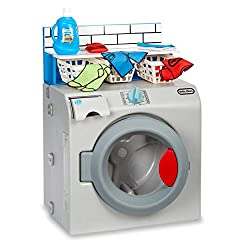 INTERACTIVE TOY WASHER-DRYER - This interactive toy washer-dryer is designed so kids can pretend they're doing laundry using the real thing for hours of pretend play fun TURNABLE DIAL - Turn the dial to activate the spinning drum and watch it as it g...