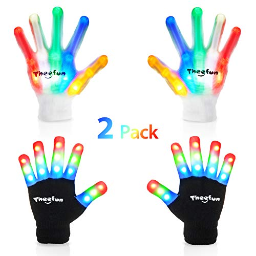 Theefun Led Gloves with Extra 8 Batteries for Kids, Finger Light Up Flashing Gloves with Multicolor Skeleton LED Gloves for Halloween,, Dance Costumes, Kids Games, Light-up Party. 2 Pair, Small