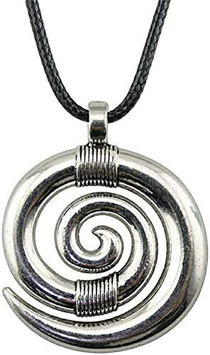 Aluyouqi Co.,ltd Collar Collar Cadena De Cuero 35X29Mm Collar con Colgante De Remolino Collar De Color Plateado Antiguo Regalo Vintage