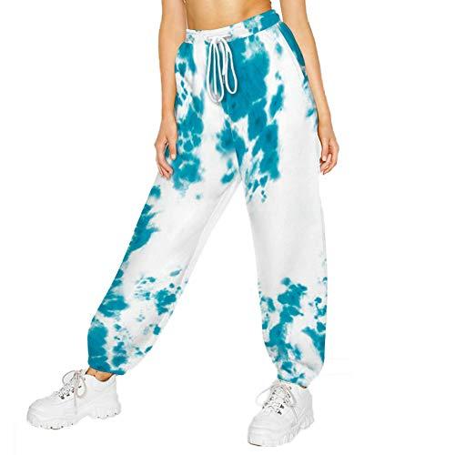 SotRong - Pantaloni sportivi da donna, con stampa, con tasche, a vita alta, con coulisse Bkjc001 S