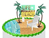 Beach Chair Palm Trees Sea Side Cake/Food/Cupcake Decoration Plant Tree Topper Picks with Plaque