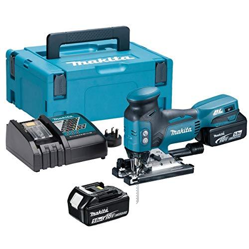 Makita DJV181RTJ DJV181RTJ-Sierra de calar (135 mm, sin escobillas, 2 baterías de 18 V, 5 Ah, Ion de Litio, Incluye Estuche Makpac