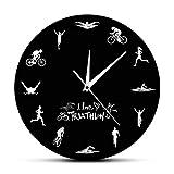Reloj de Pared Moderno de triatlón, Bicicleta de natación, Ciclismo, Correr, Deportes, decoración del hogar, Reloj de Pared de triatleta, Reloj para Aficionados de triatlón, Regalo