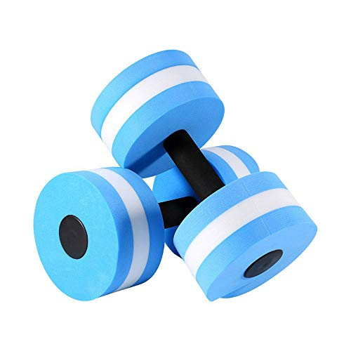 High-Density EVA-Foam Dumbbell Set, Water Weight - Soft Padded - Water Aerobics, Aqua Therapy, Pool Fitness, Water Exercise (Blue)