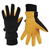 Winter Cycling Gloves Cold Proof Insulated Work Glove for Driving Bike Riding Hiking Snow Skiing - Deerskin Suede Leather Thermal Polar Fleece Waterproof Hand Warmer for Men and Women Tan-Black Small