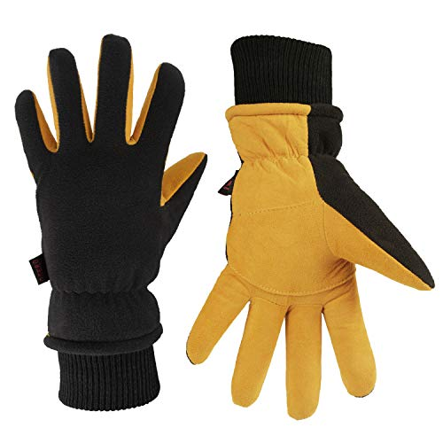 Winter Hunting Gloves Cold Proof Insulated Work Glove for Driving Cycling Hiking Snow Skiing - Deerskin Suede Leather Warm Polar Fleece Waterproof Hand Warmer for Men and Women Tan-Black X-Large
