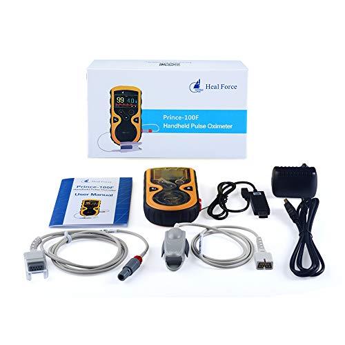 Heal Force Prince-100F Handheld Color Fitness Tracker mit Echtzeitmessungen, externer Fingersonde, erweiterter Datenspeicher, Überprüfungsfunktion und 70 Stunden Datenspeicherung