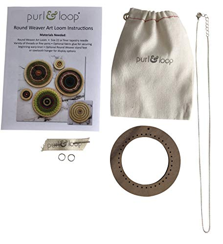 Purl & Loop Jewelry Round Weaver Pendant Kit (3 inch, Walnut)