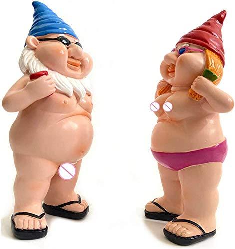 YHK Beach Vacation Gnome, Lawn Bare Buttocks Gnome Statue,Funny Mini Statues for Garden, Home and Office