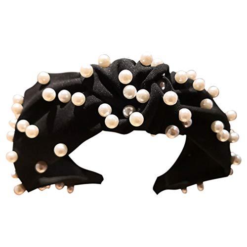Dontdo - Diadema de tela con cuentas de perlas sintéticas para mujer Negro