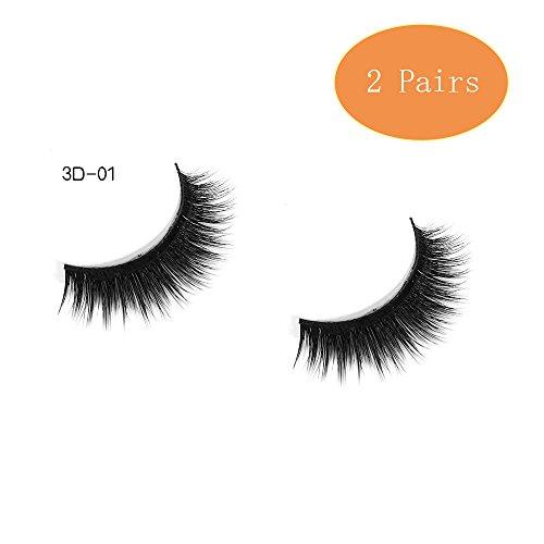 QJHP 3D Faux Cils Réutilisable 15 Paires Les Cils Look Naturel Pour L'extension De Maquillage Des Cils Créer Belle,2Pairs