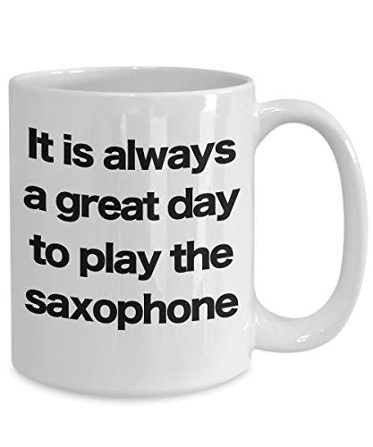 Ol322ay Saxofoon mok witte koffiekop-grappig cadeau voor saxophon-speler muziekdirector Marching Band Jazz Brass