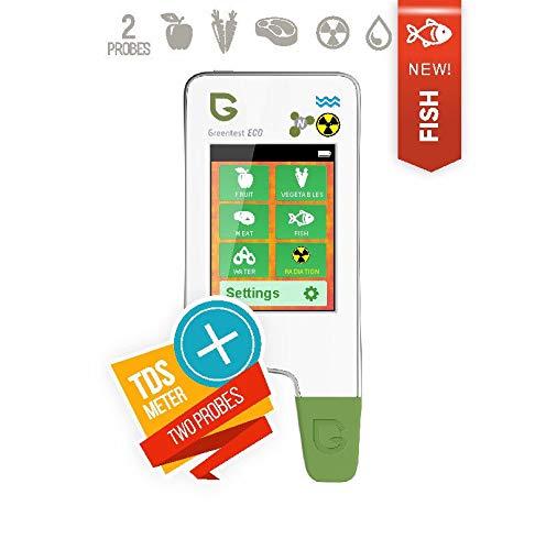 6in1 Greentest Eco 5 + Fisch Geigerzähler Nitrattester Fleisch TDS Wassertester Strahlenmessgerät Strahlungsmessgerät nitrat tester messgerät geiger counter dosimeter nitratmessgerät (Weiß)